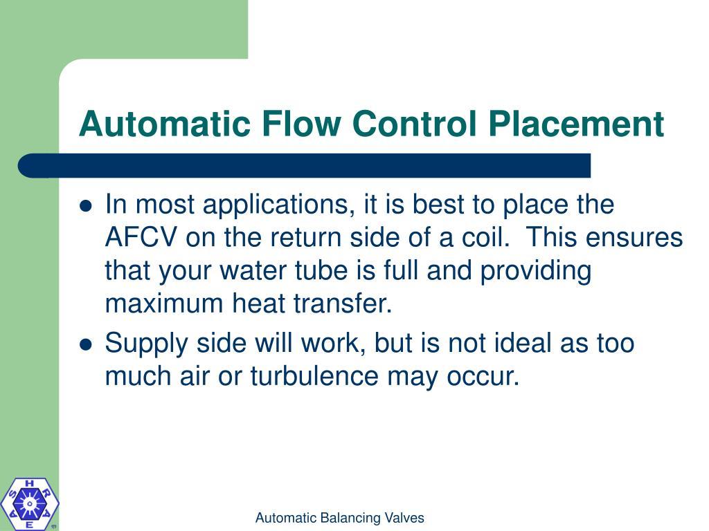 Automatic Flow Control Placement