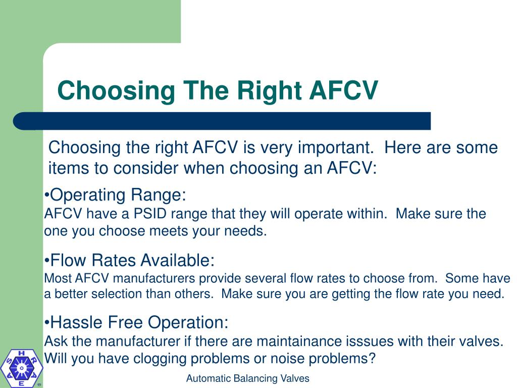 Choosing The Right AFCV