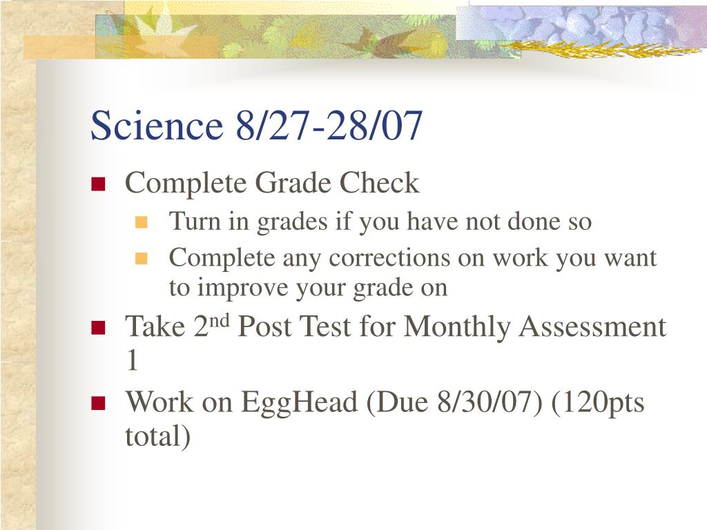 Science 8/27-28/07
