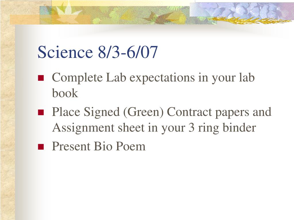 Science 8/3-6/07