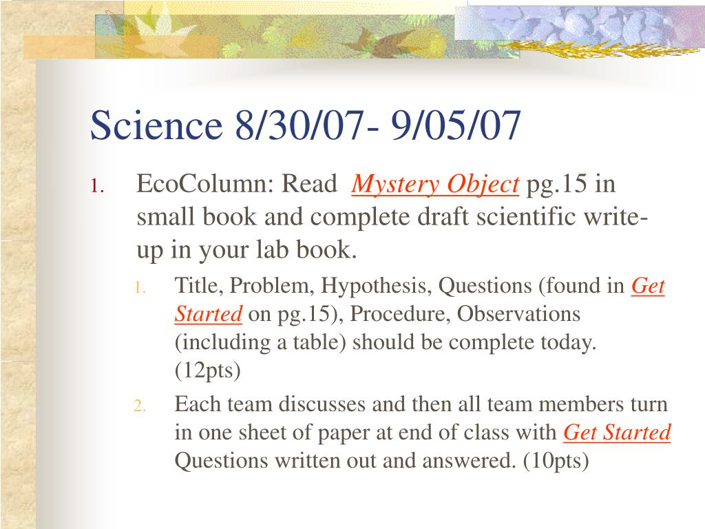 Science 8/30/07- 9/05/07