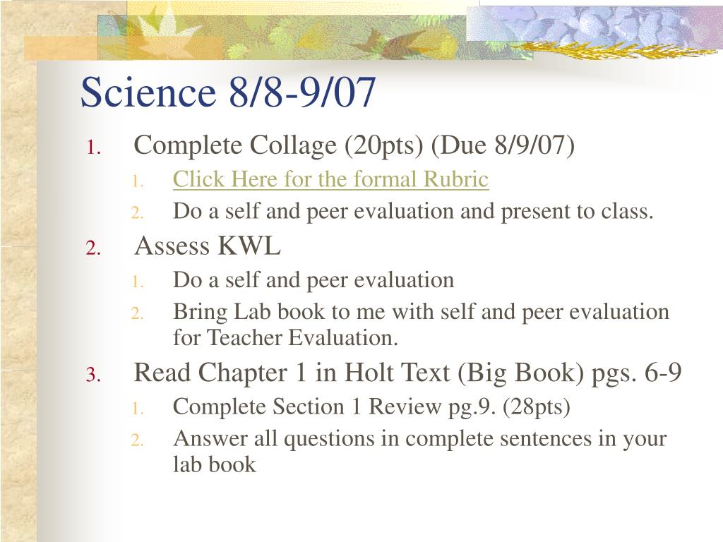 Science 8/8-9/07