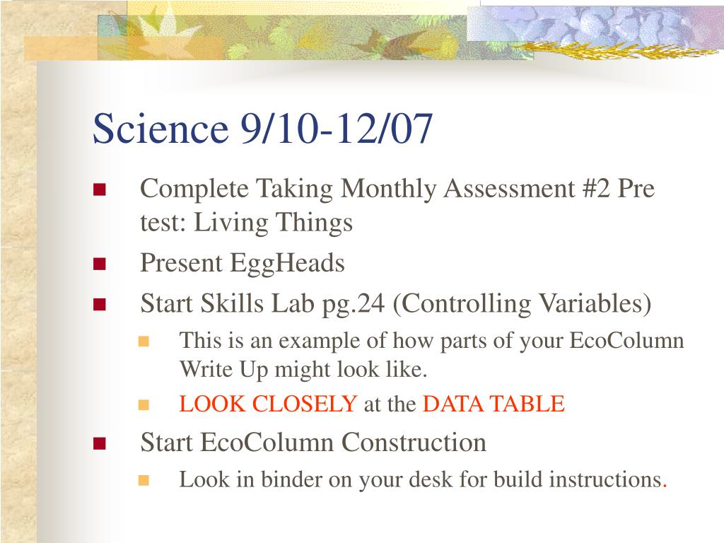 Science 9/10-12/07