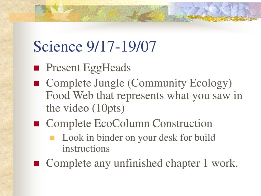 Science 9/17-19/07