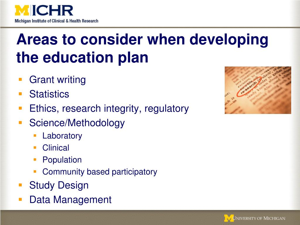 Areas to consider when developing the education plan
