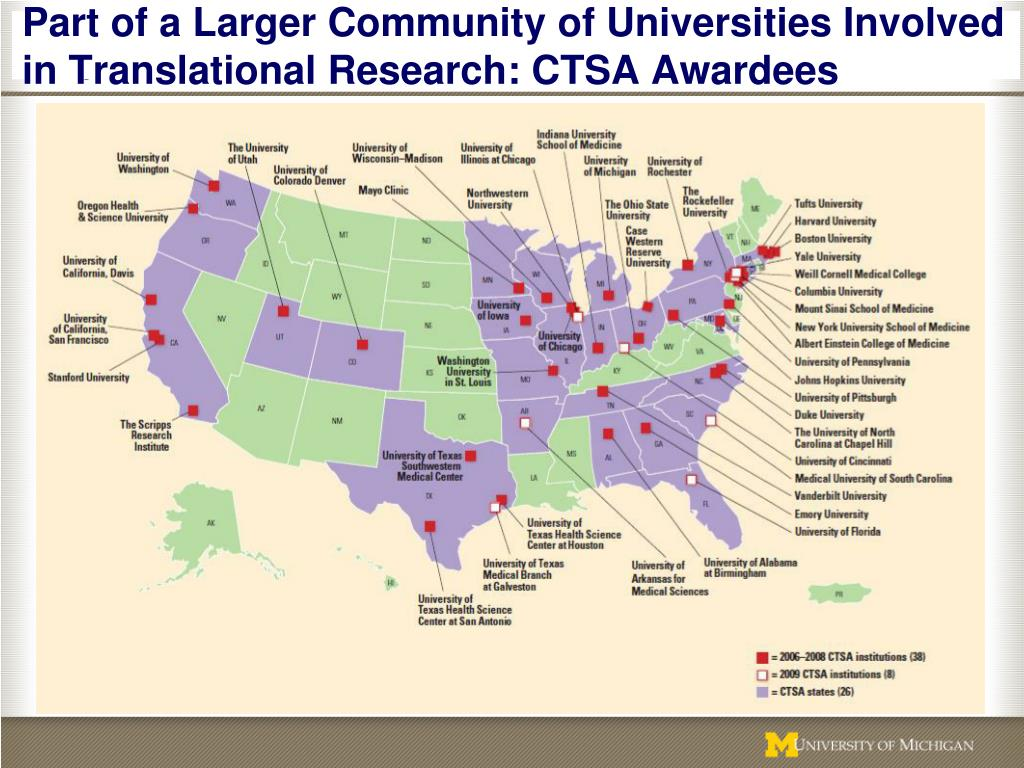 Part of a Larger Community of Universities Involved in Translational Research: CTSA Awardees