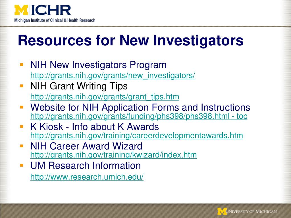 Resources for New Investigators