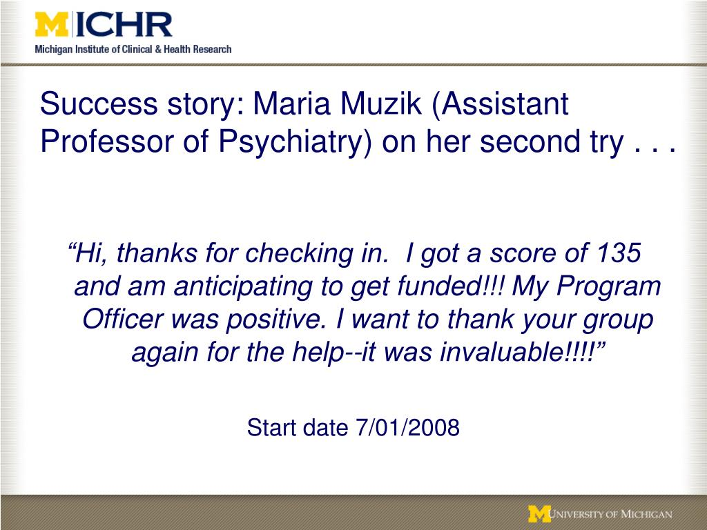 Success story: Maria Muzik (Assistant Professor of Psychiatry) on her second try . . .