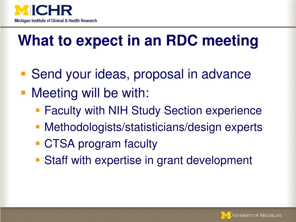 What to expect in an RDC meeting