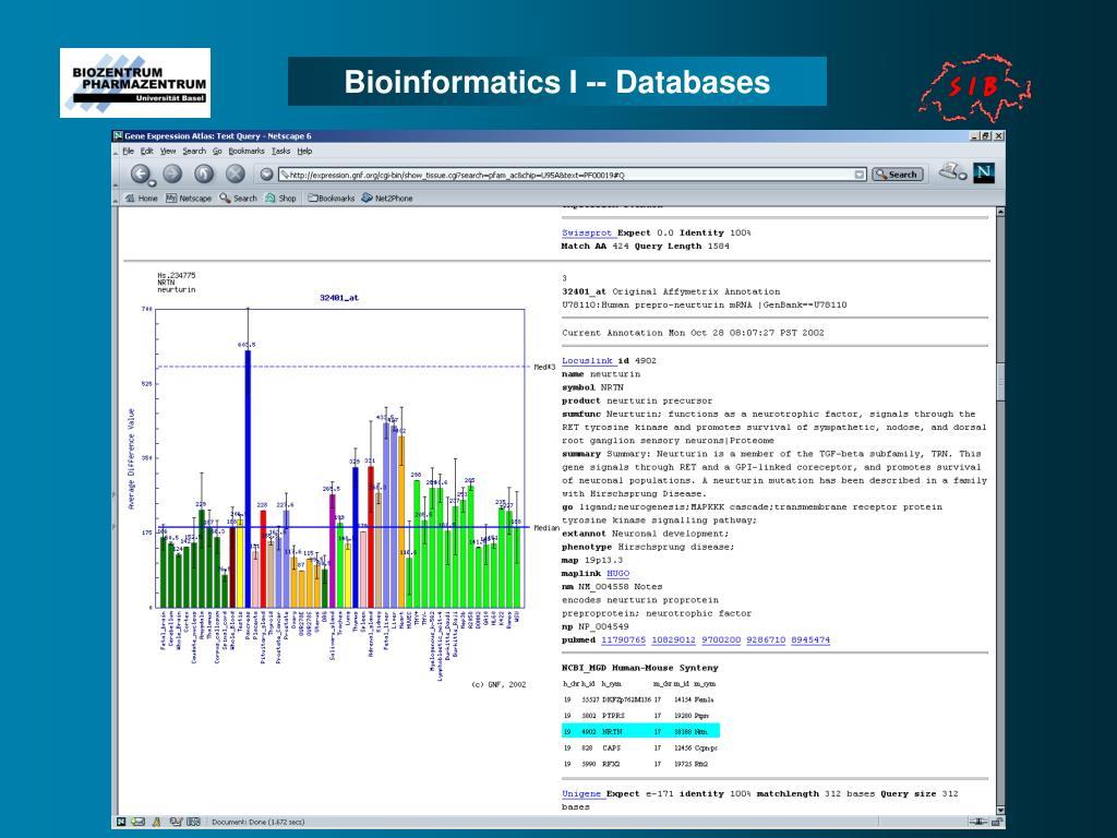 Bioinformatics I -- Databases