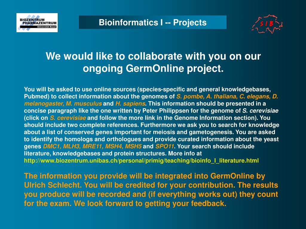 Bioinformatics I -- Projects