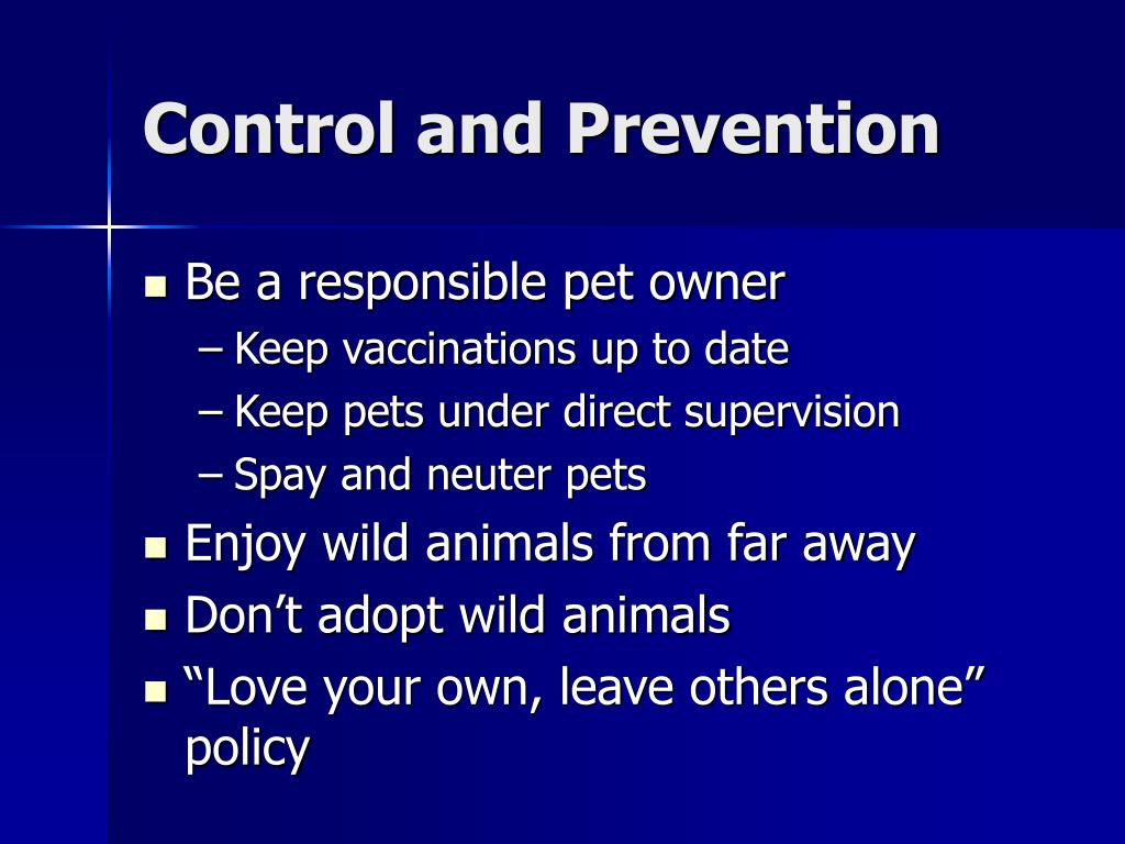Control and Prevention