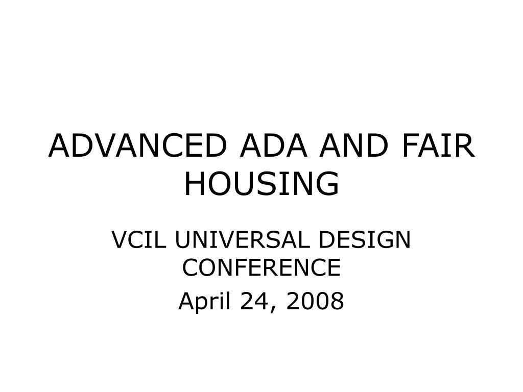 ADVANCED ADA AND FAIR HOUSING