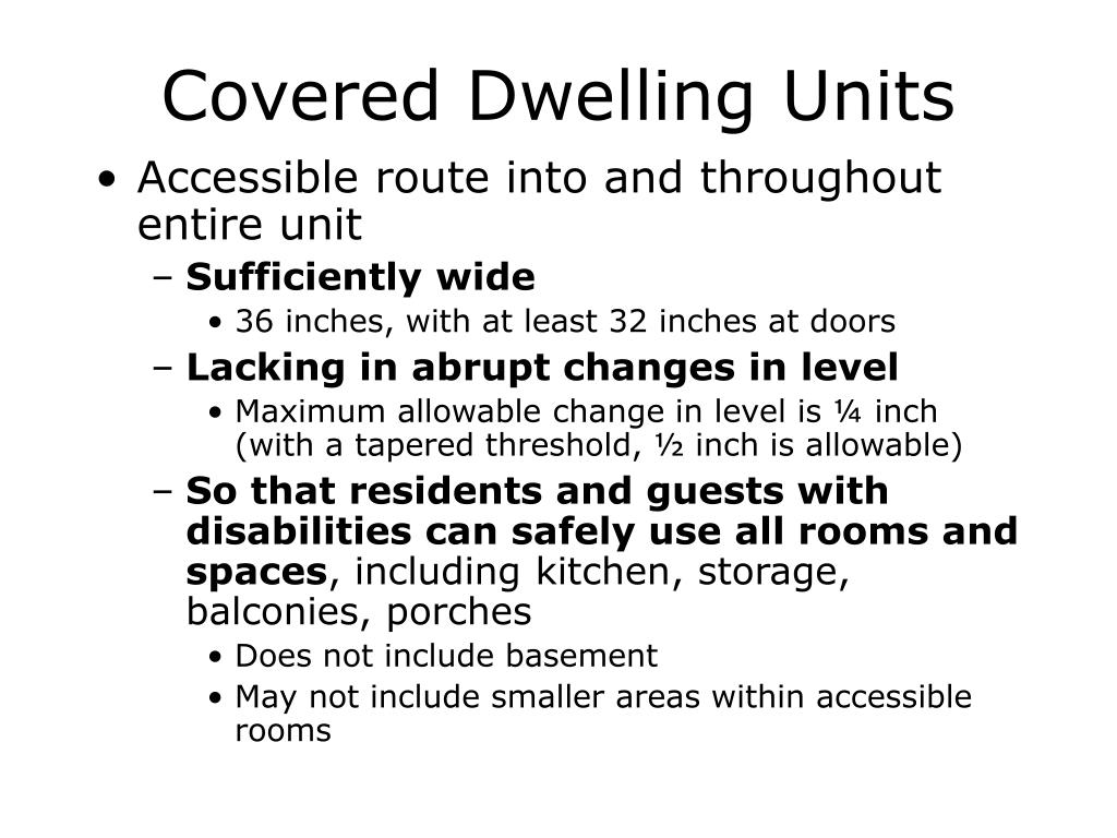 Covered Dwelling Units