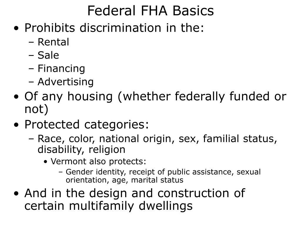 Federal FHA Basics