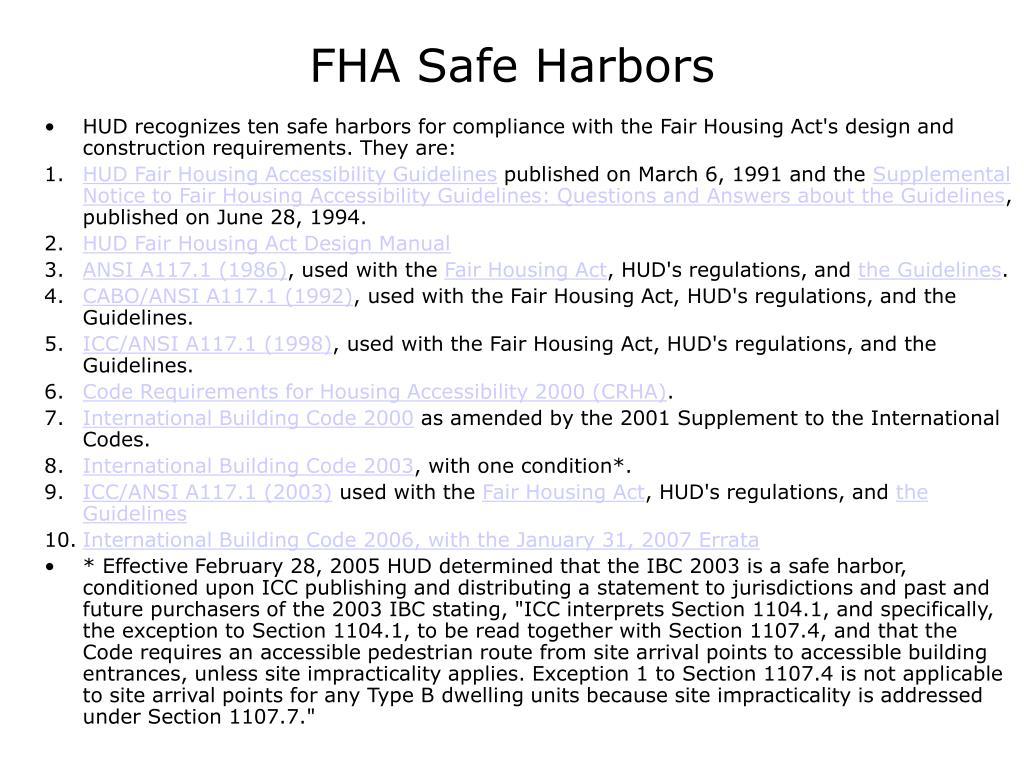 FHA Safe Harbors