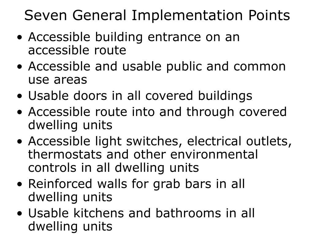 Seven General Implementation Points