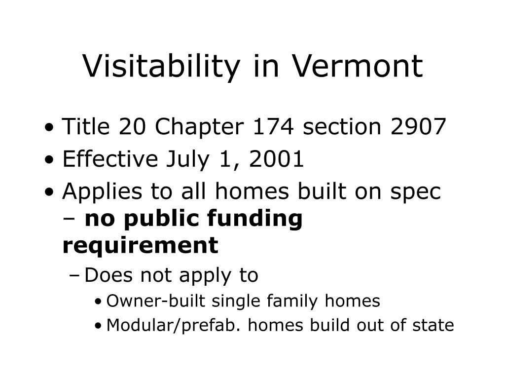 Visitability in Vermont