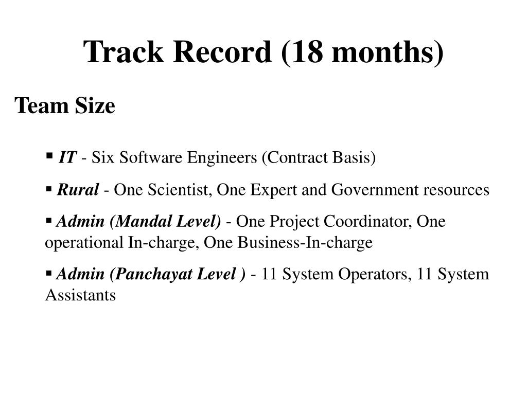 Track Record (18 months)
