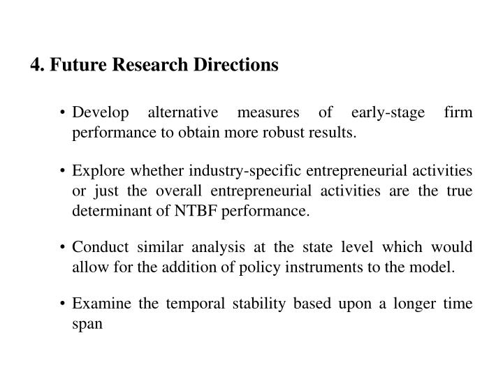 Develop alternative measures of early-stage firm performance to obtain more robust results.