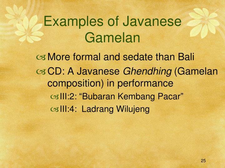 Examples of Javanese Gamelan