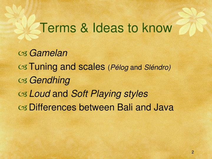 Terms ideas to know