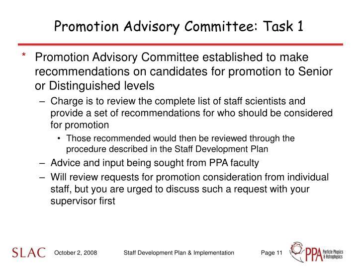 Promotion Advisory Committee: Task 1