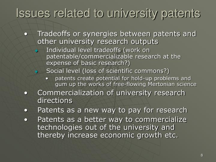 Issues related to university patents