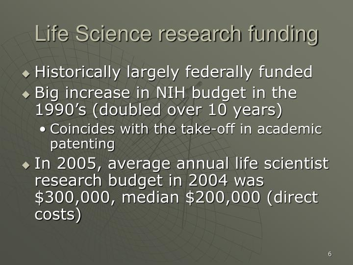 Life Science research funding