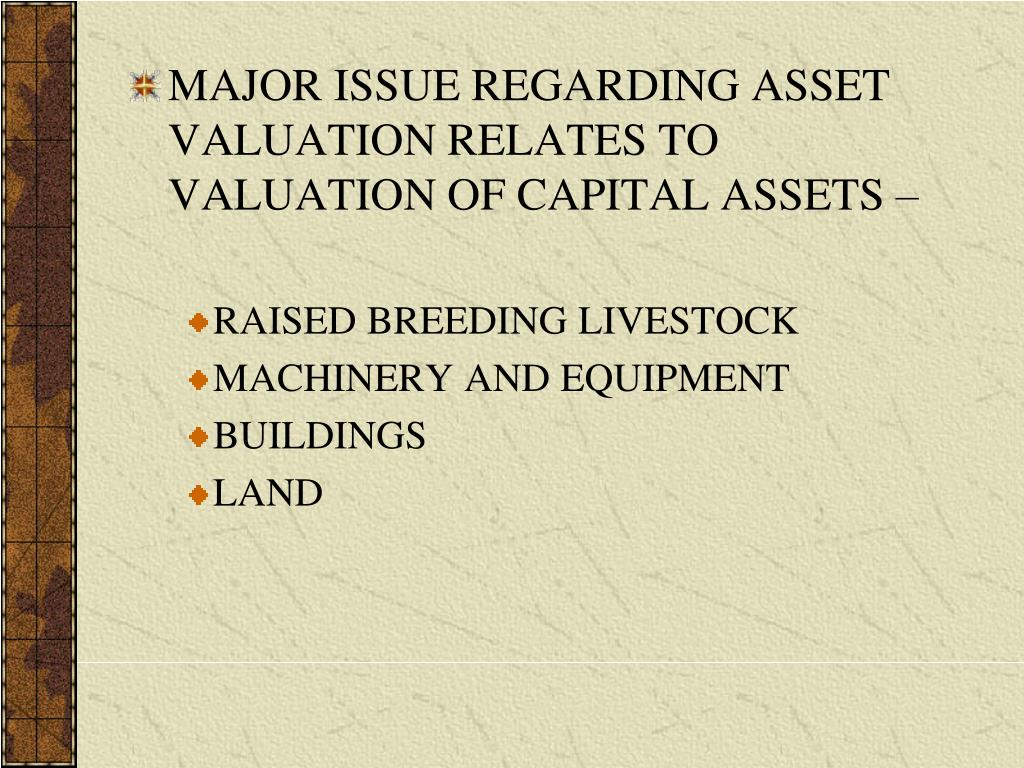 MAJOR ISSUE REGARDING ASSET VALUATION RELATES TO VALUATION OF CAPITAL ASSETS –
