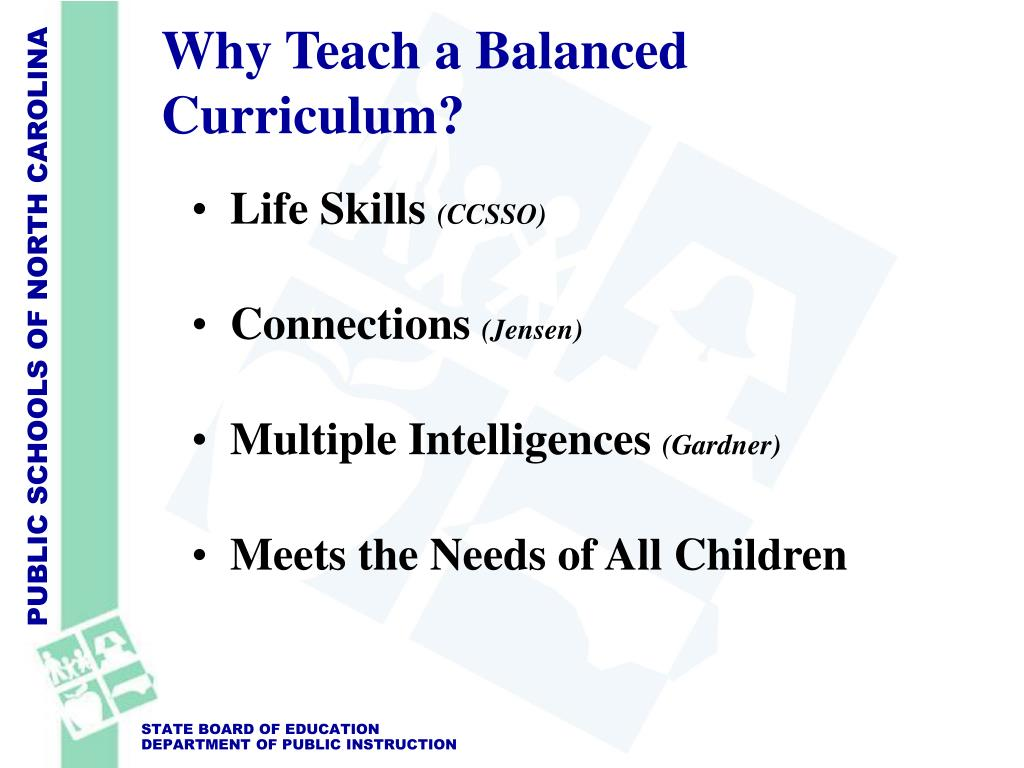 balanced curriculum Nclb: taking stock, looking forward pages 64-68 the side effects of nclb gordon cawelti if we focus only on math and literacy seek to accommodate these three components within a balanced curriculum that prepares students for the future today.