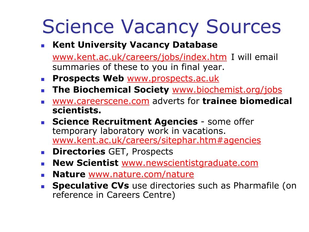 Kent University Vacancy Database