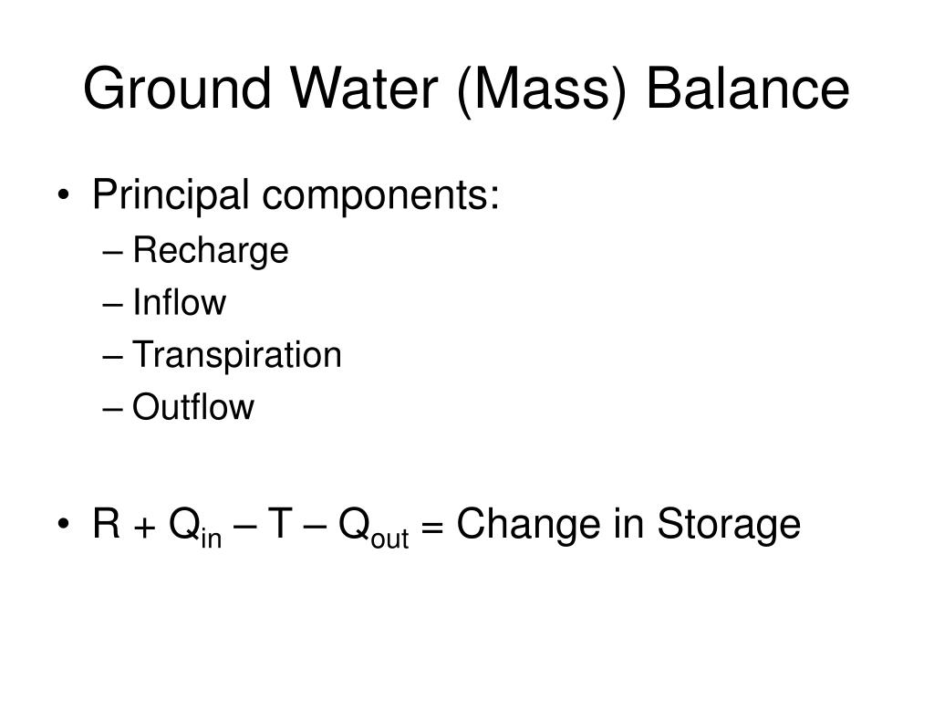 Ground Water (Mass) Balance