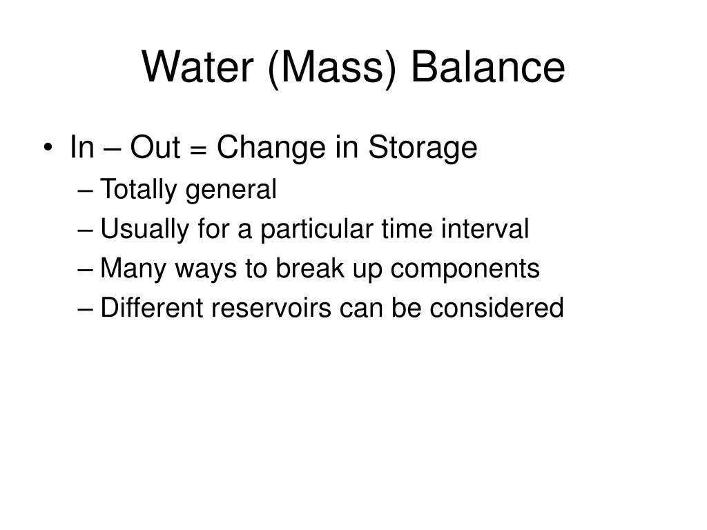 Water (Mass) Balance