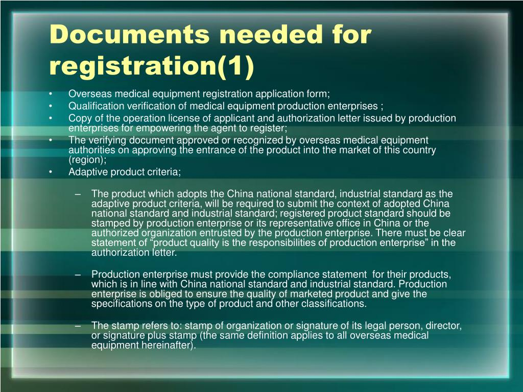 Documents needed for registration(1)
