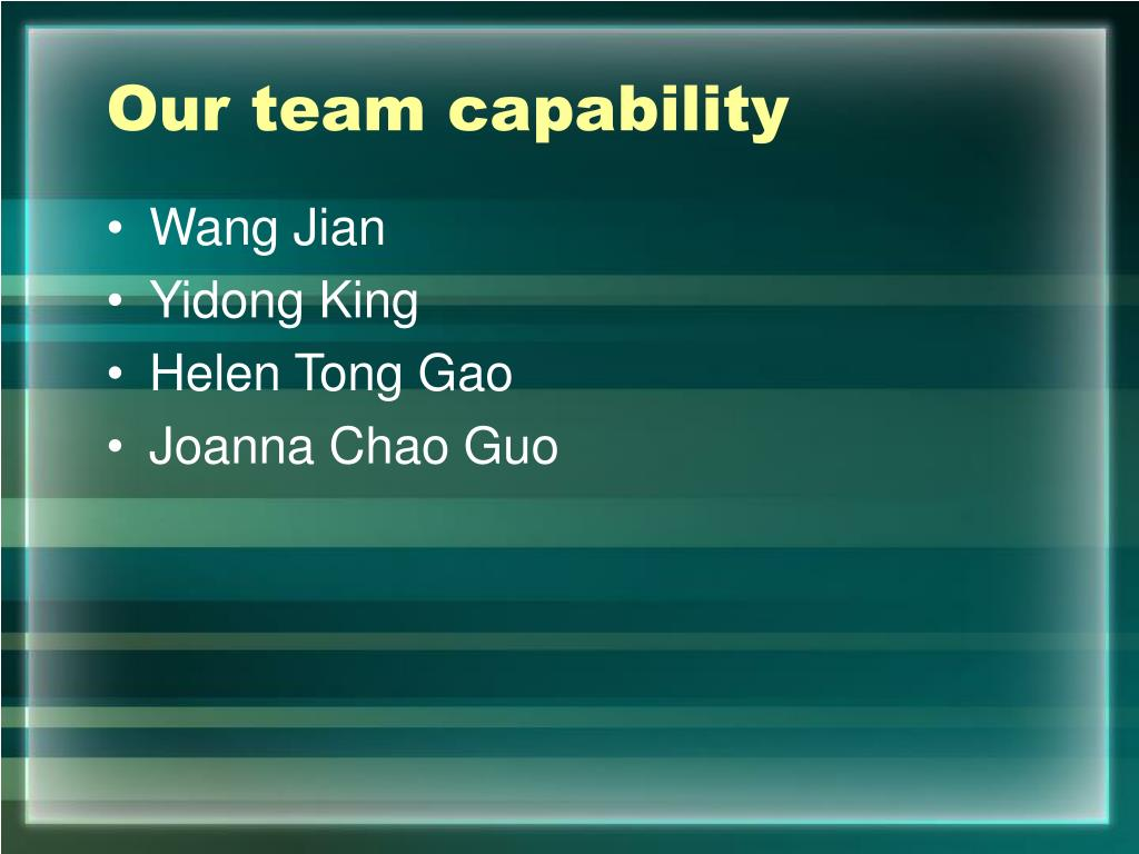 Our team capability