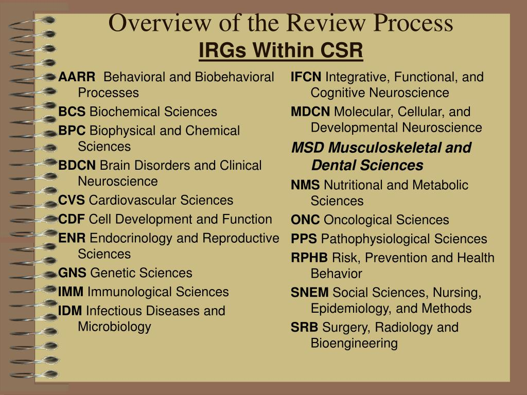 Overview of the Review Process
