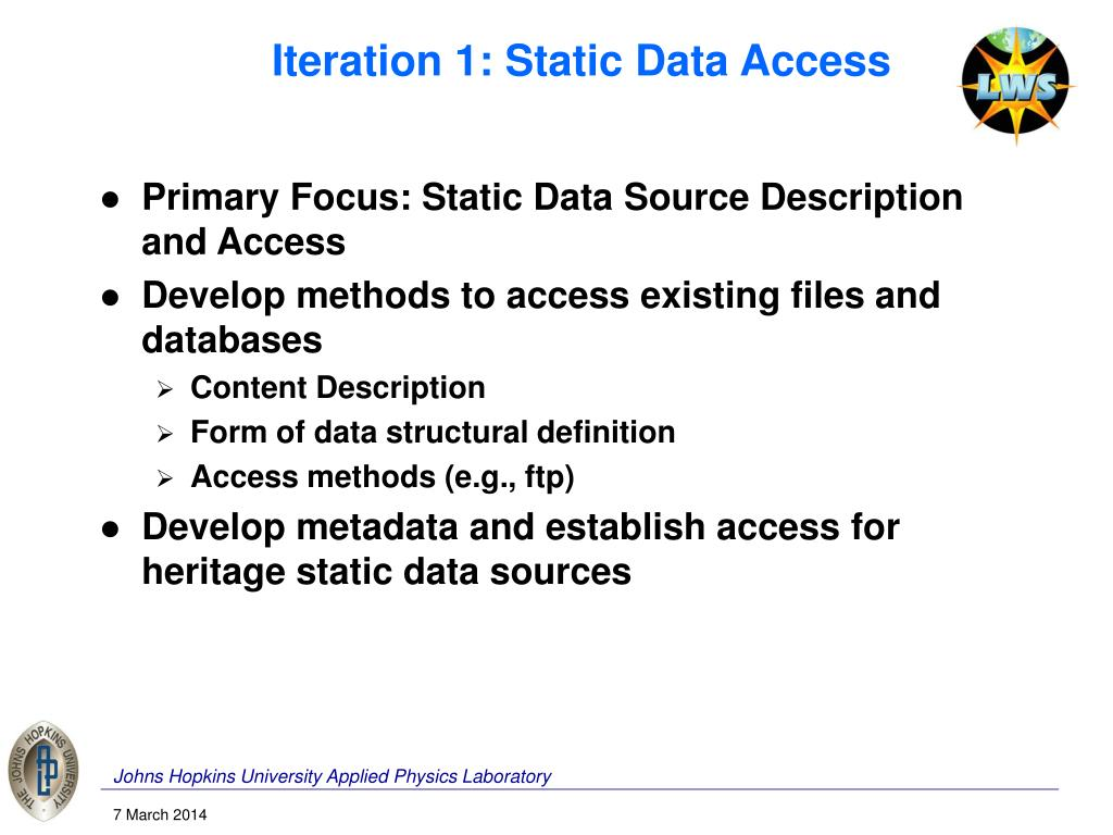 Iteration 1: Static Data Access