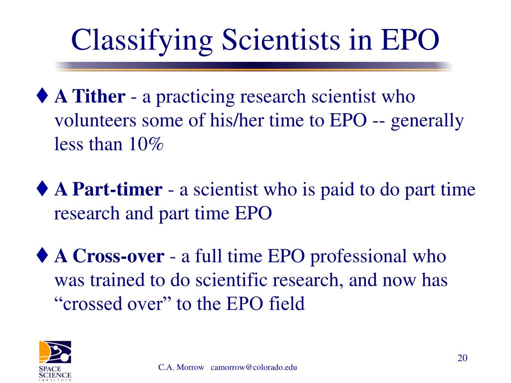 Classifying Scientists in EPO
