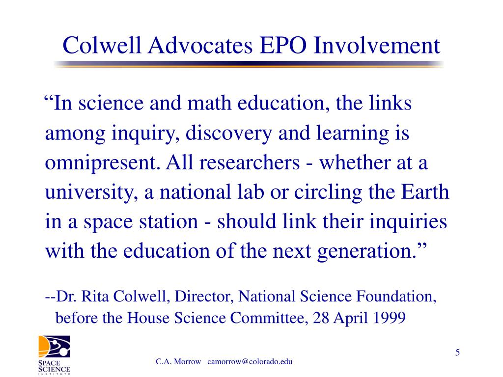 Colwell Advocates EPO Involvement