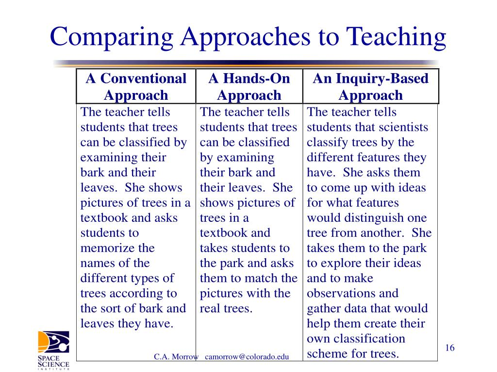 Comparing Approaches to Teaching