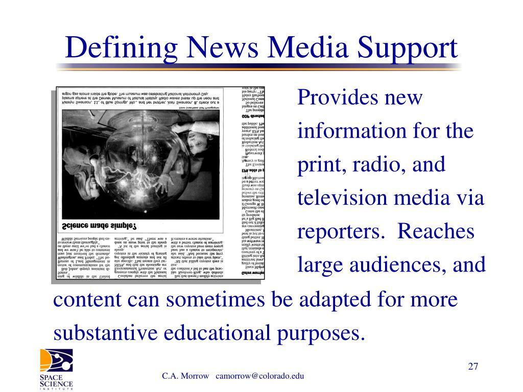Defining News Media Support