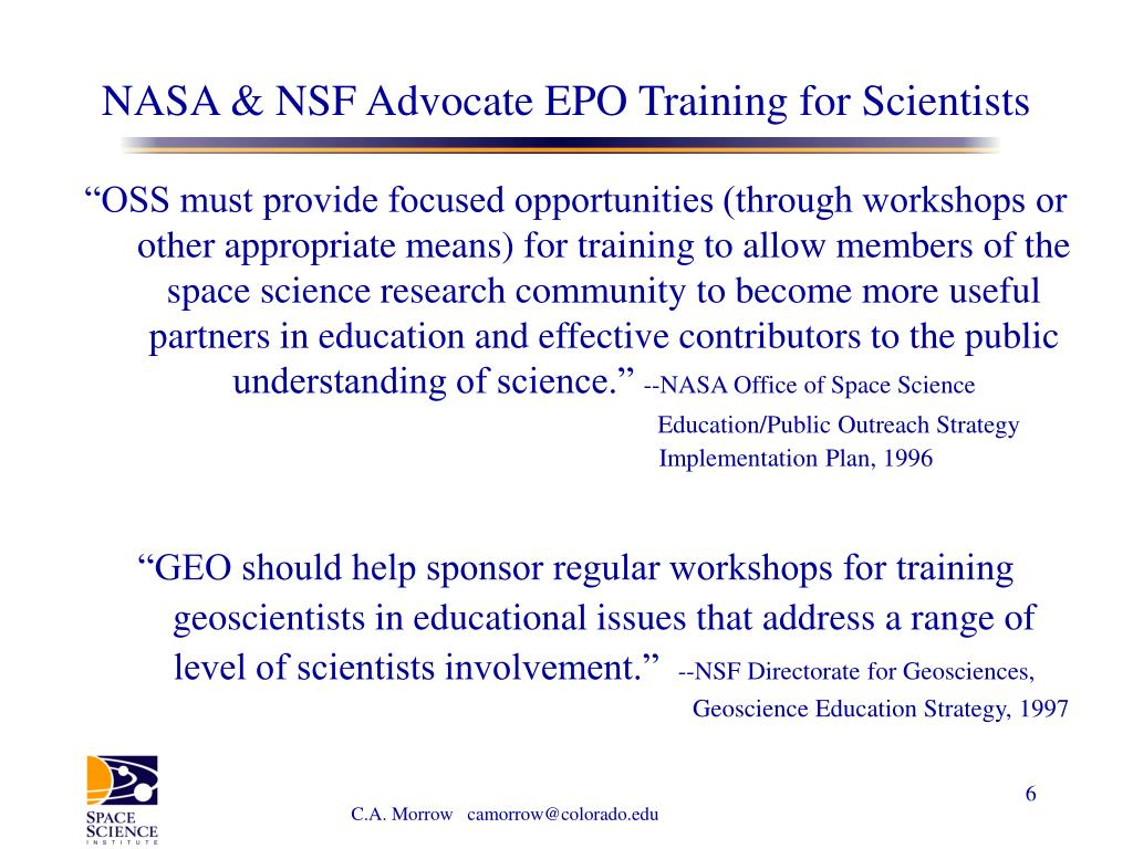 NASA & NSF Advocate EPO Training for Scientists