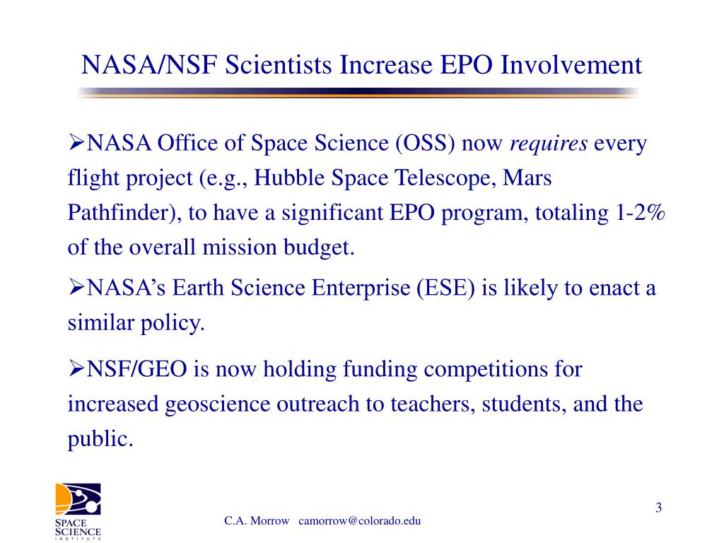 NASA/NSF Scientists Increase EPO Involvement
