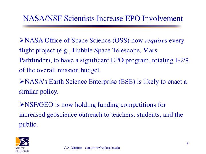 Nasa nsf scientists increase epo involvement