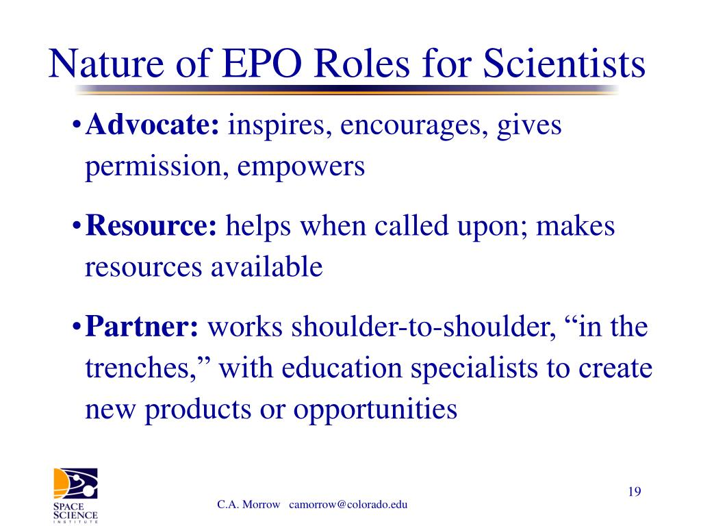 Nature of EPO Roles for Scientists
