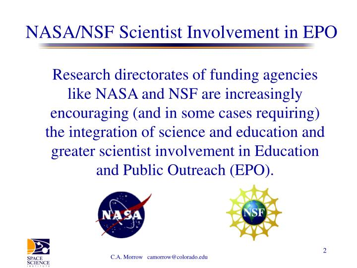 NASA/NSF Scientist Involvement in EPO