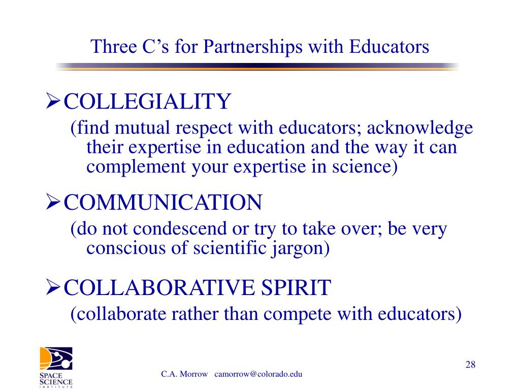 Three C's for Partnerships with Educators
