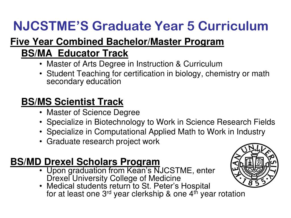 NJCSTME'S Graduate Year 5 Curriculum