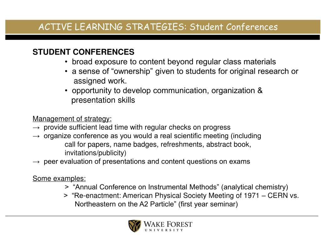 ACTIVE LEARNING STRATEGIES: Student Conferences